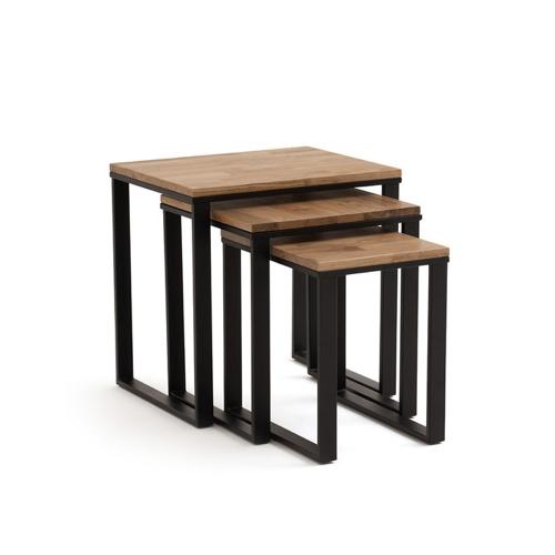 mobilier salon style masculin tables gigognes lot de 3 piètement métal plateau bois industriel