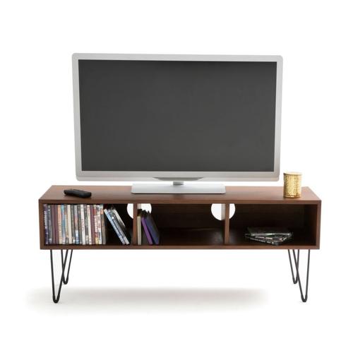 mobilier salon style masculin petite meuble télévision tv bois foncé pied compas vintage