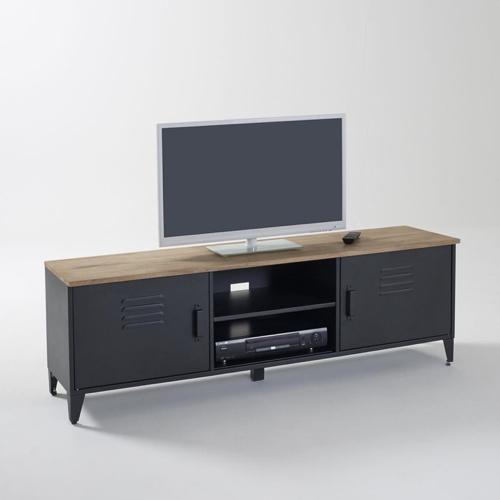 mobilier salon style masculin meuble télévision type industriel vestiaire métal et bois