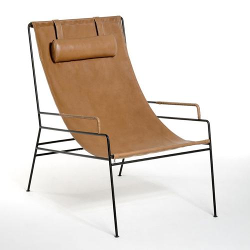 mobilier salon style masculin fauteuil hamac cuir cognac came armature métal