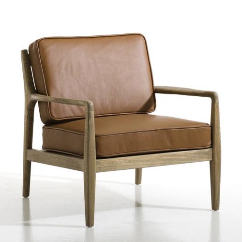 mobilier salon style masculin fauteuil cuir moderne armature bois années 50 cuir