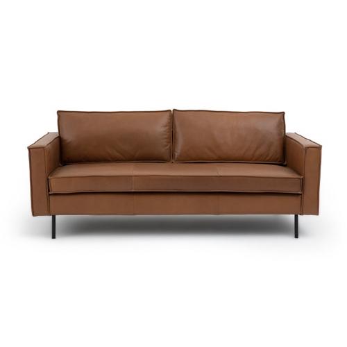 mobilier salon style masculin canapé cuir naturel cognac camel allure simple et confortable