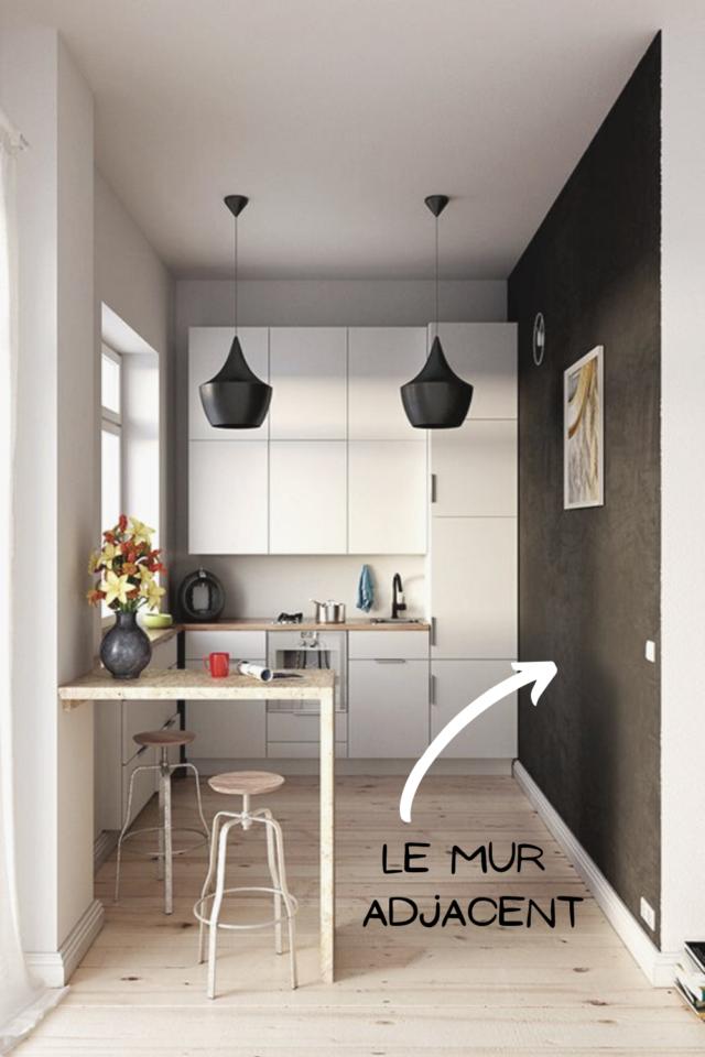 ou mettre couleur petite cuisine peinture murale idée déco