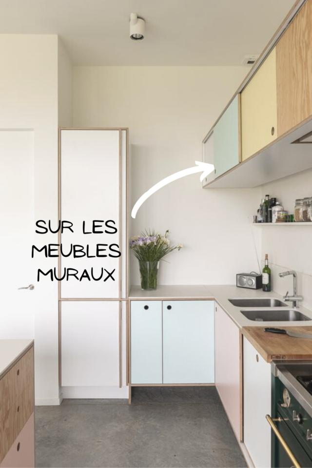 ou mettre couleur petite cuisine meubles muraux idée déco