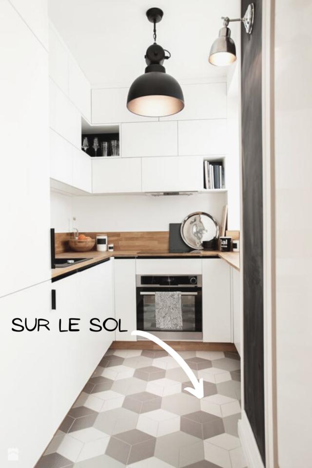 ou mettre couleur petite cuisine revêtement de sol carrelage moderne idée déco