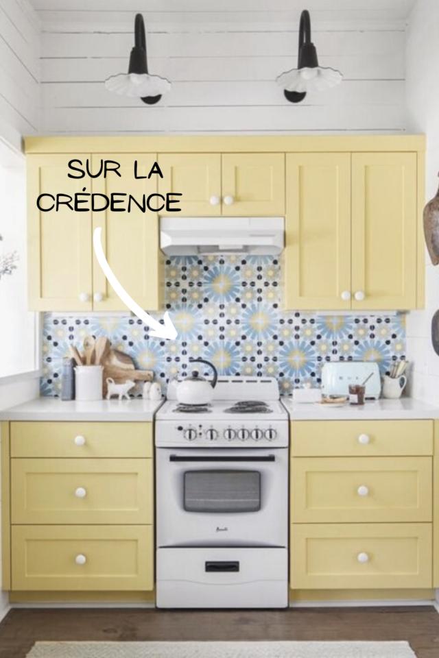 ou mettre couleur petite cuisine crédence colorée motif idée déco