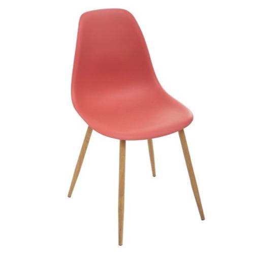 ou trouver chaise cuisine moins 50 euros style scandinave rouge piètement bois