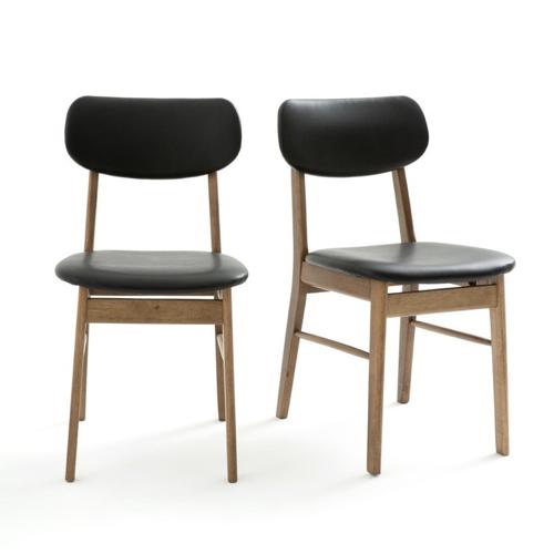 ou trouver chaise tabouret coin repas vintage rétro chic bois et cuir noir