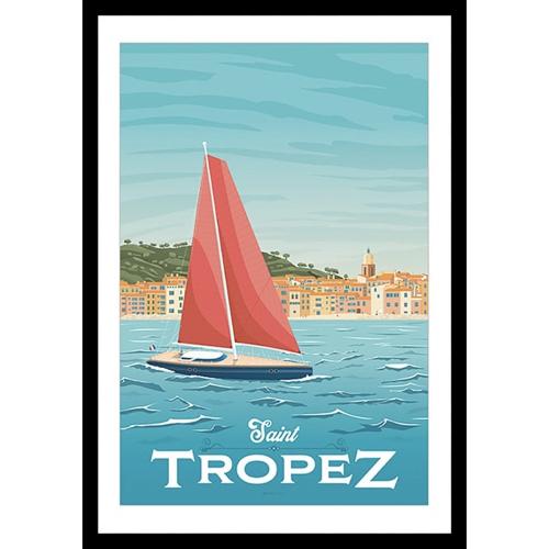 ou trouver deco chambre bord de mer poster vintage saint tropez mer
