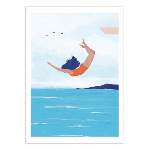 ou trouver deco chambre bord de mer poster dessin illustration nageuse vacances
