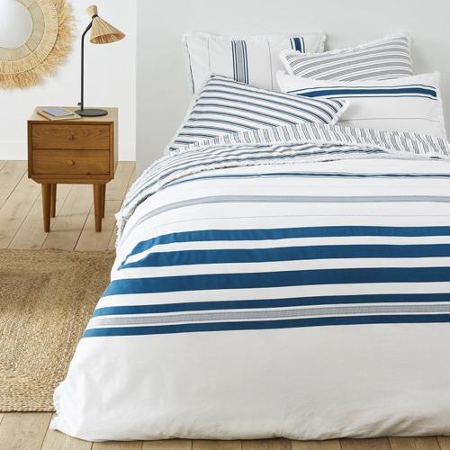 ou trouver deco chambre bord de mer housse de couette blanc bleu moderne