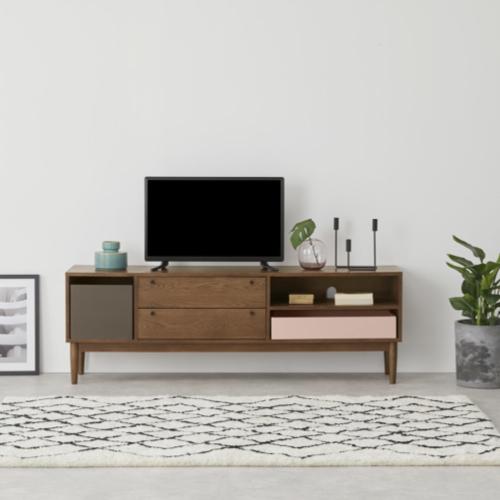 ou trouver meuble tv annees 50 tiroir et porte coulissante bois et couleur