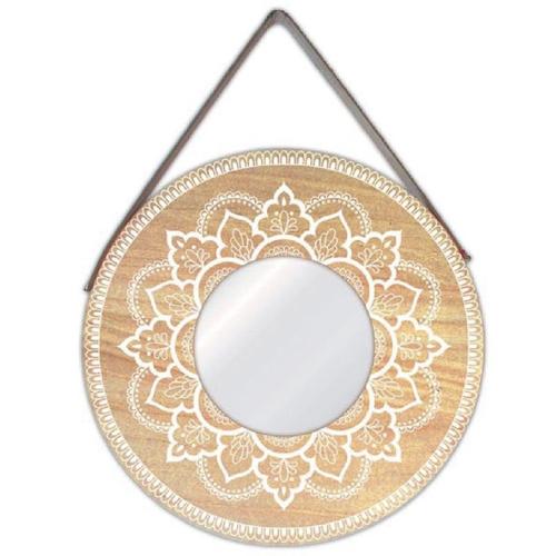 ou trouver miroir mural pas cher rond bois mandala peinture blanc