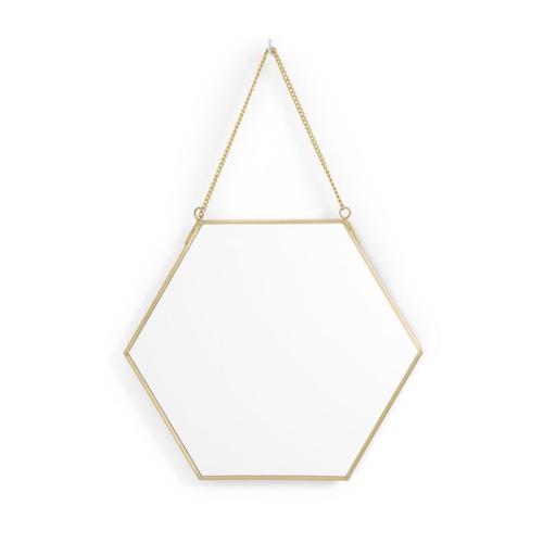 ou trouver miroir mural pas cher hexagonal laiton chainette décoration féminine et élégante