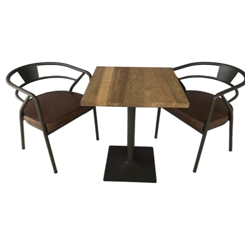 ou trouver petite table coin repas plateau bois carré pied central métal
