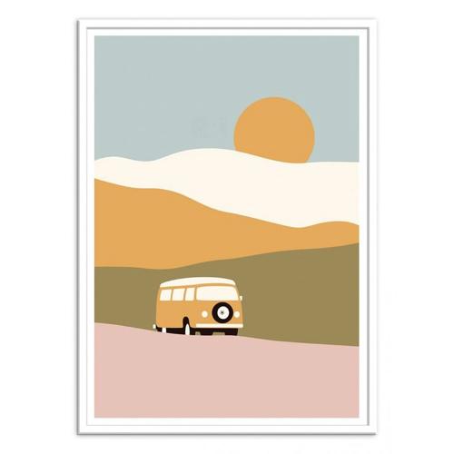 ou trouver poster deco pas cher combi van illustration dessin paysage moderne couleur
