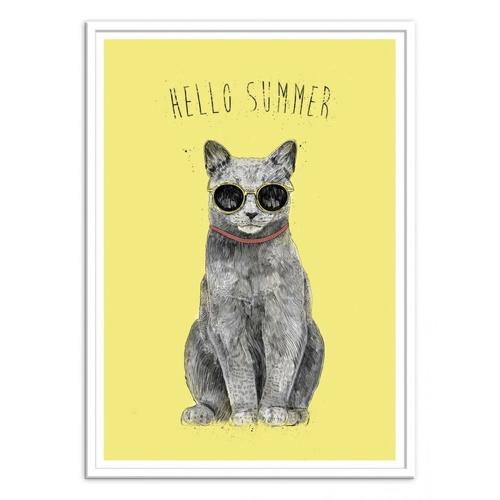 ou trouver poster deco pas cher chat sur fond jaune