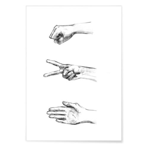ou trouver poster deco pas cher illustration noir et blanc dessin fusain pierre ciseaux feuille