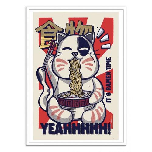 ou trouver poster deco pas cher chat nouille effet asiatique noir blanc rouge