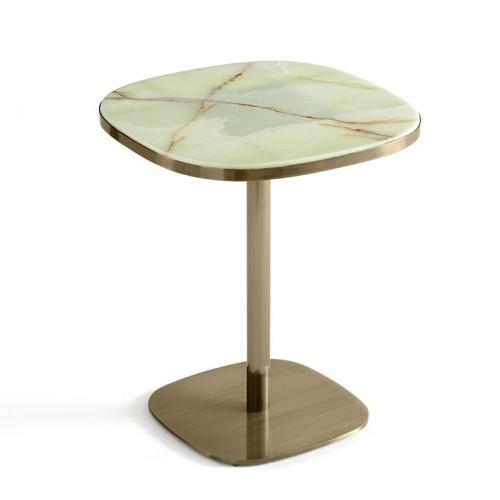 ou trouver table 2 places deco style bistro pied cental laiton plateau effet marbre