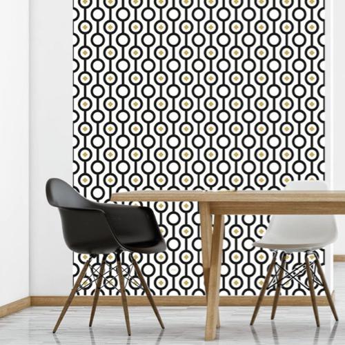 papier peint stickers noir et blanc motif vintage art déco