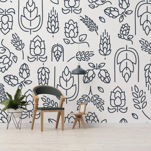 papier peint stickers noir et blanc motif végétal