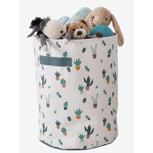 petit rangement enfant couleur panier a jouets blanc et vert cactus motif