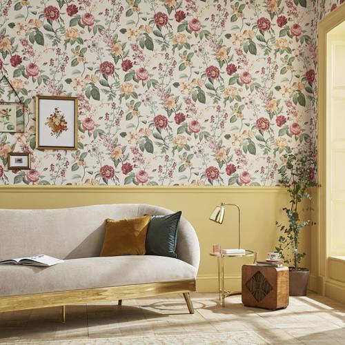 petite piece papier peint idee motif floral sur fond clair