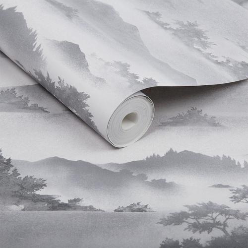 petite piece papier peint idee motif classique chic gris et blanc
