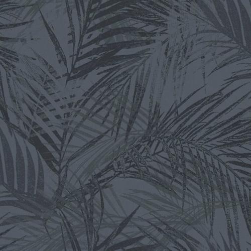 petite piece papier peint idee ton sur ton motif tropical noir sombre gris foncé