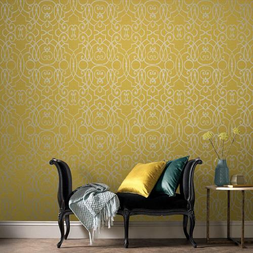 petite piece papier peint idee jaune motif argenté