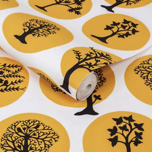 petite piece papier peint idee jaune blanc noir