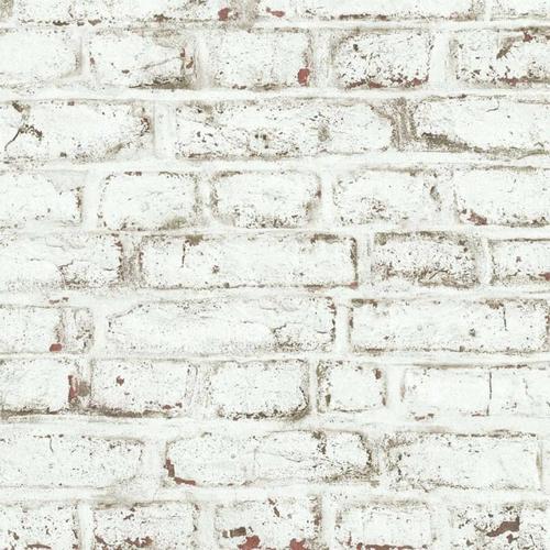 petite piece papier peint idee matière brique usées blanc