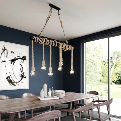 salle a manger deco style bord de mer suspension dessus de table cordage ampoule