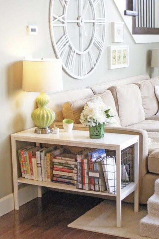 salon bout canape exemple meuble appoint salon rangement livre