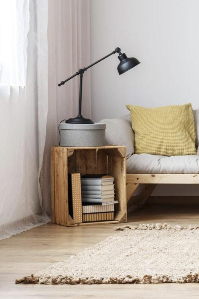 salon bout canape exemple caisse en bois récup idée petit budget