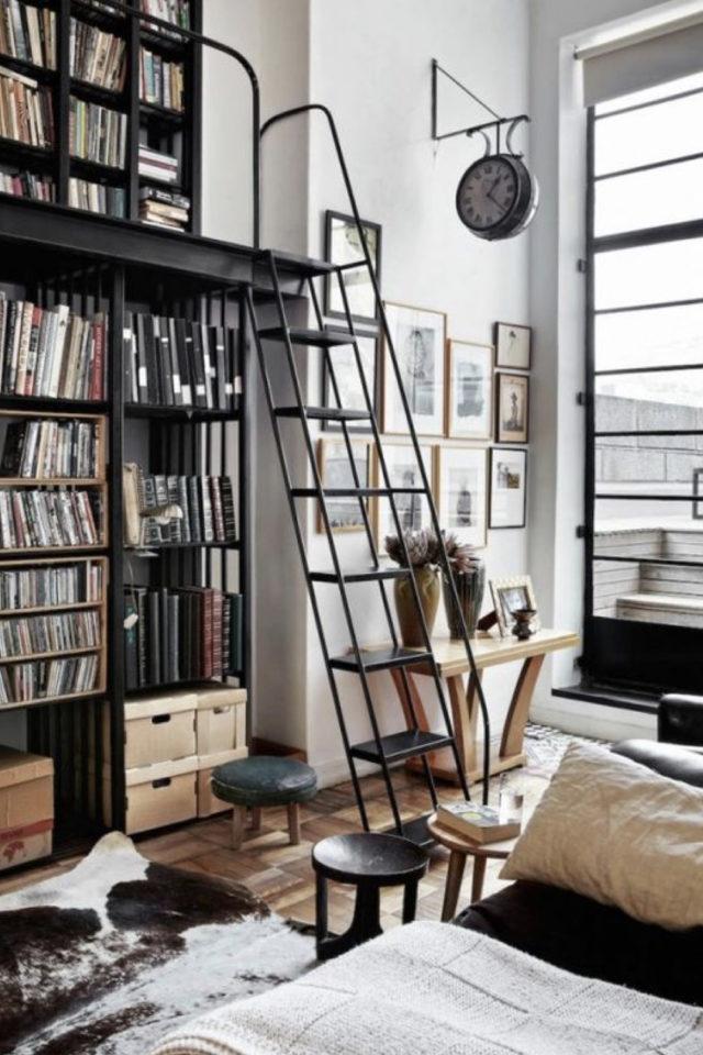 salon decoration style masculin exemple bibliothèque avec échelle ambiiance indus moderne