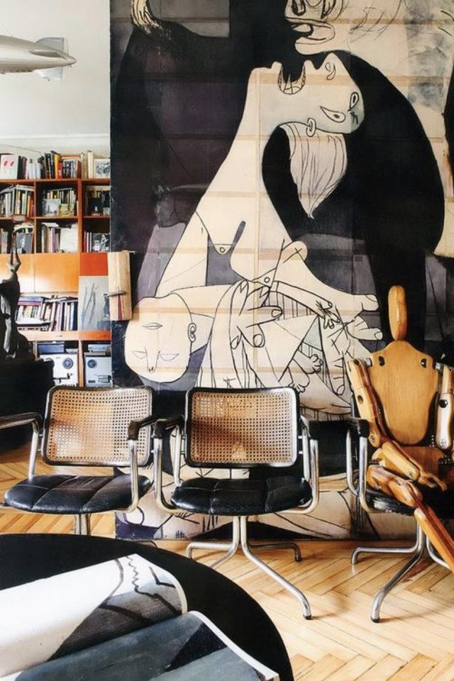 salon decoration style masculin exemple aesthetic vintage récup meuble rétro art caractère