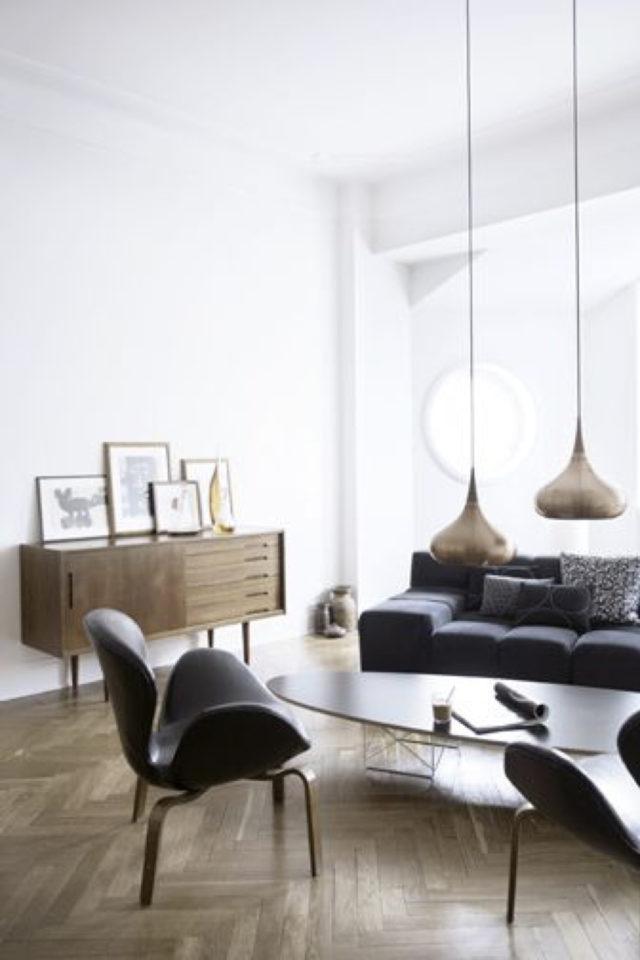 salon decoration style masculin exemple ambiance minimaliste épurée essentiel meuble rétro vintage cuir fauteuil canapé enfilade vintage