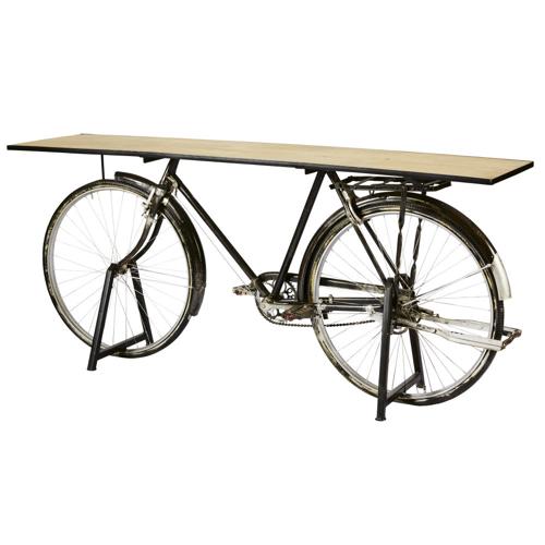 salon meuble deco styme masculin console montée sur vélo