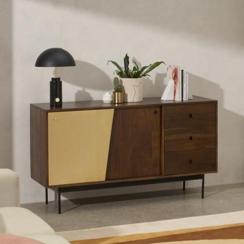salon sejour mid century buffet enfilade bois sombre et laiton petit modèle portes et tiroirs