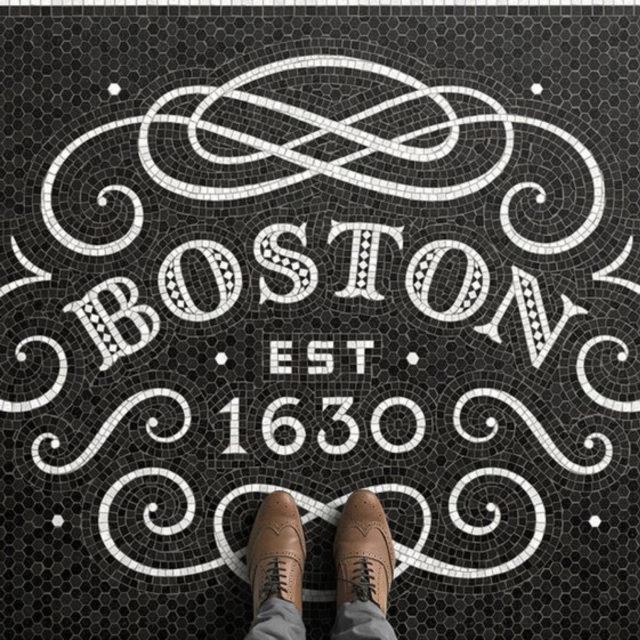 sol mosaique nom ville noir et blanc Boston