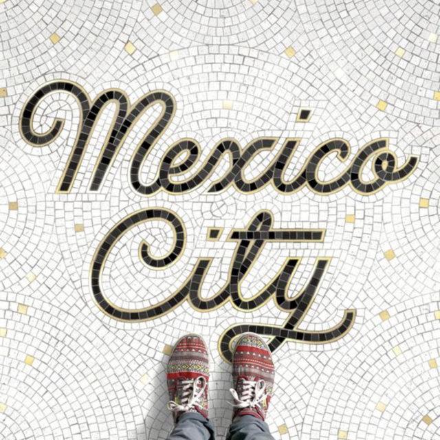 sol mosaique nom ville typographie Mexico vintage