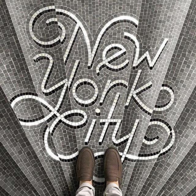 sol mosaique nom ville stule art nouveau art déco hôtel ancien New York