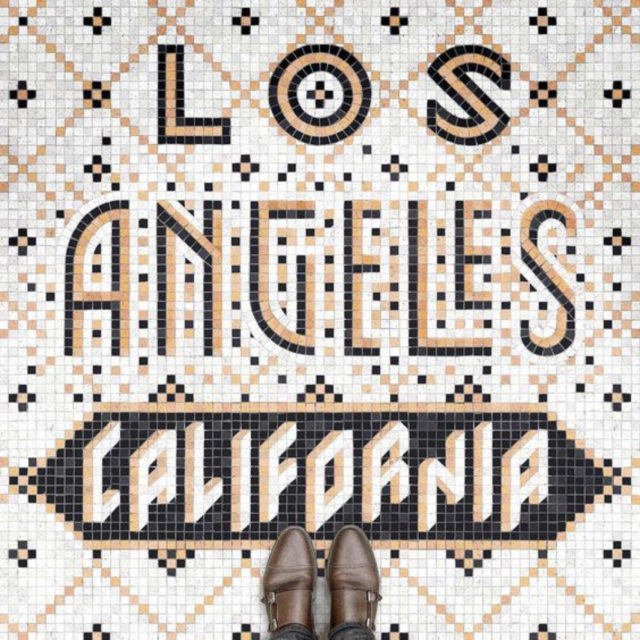 sol mosaique nom ville rose blanc noir Los Angeles Californie