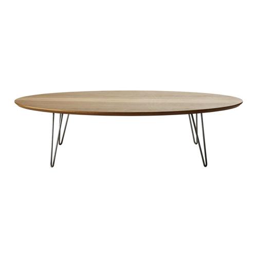 table basse style annees 50 ovale grand salon séjour pied en métal noyer