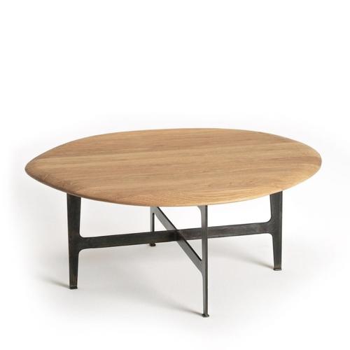 table basse style annees 50 ovale piètement métal vintage mid century