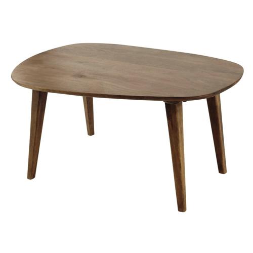 table basse style annees 50 bois sombre foncé forme originale