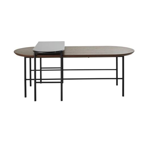 table basse style annees 50 bois et métal deux parties graphique design vintage