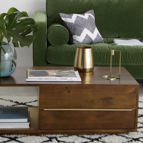 table basse style annees 50 bois sombre tiroir et niche laiton liseré